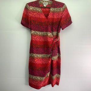 Adrianna Papell Silk Dress Sz 10 Wrap Animal Print